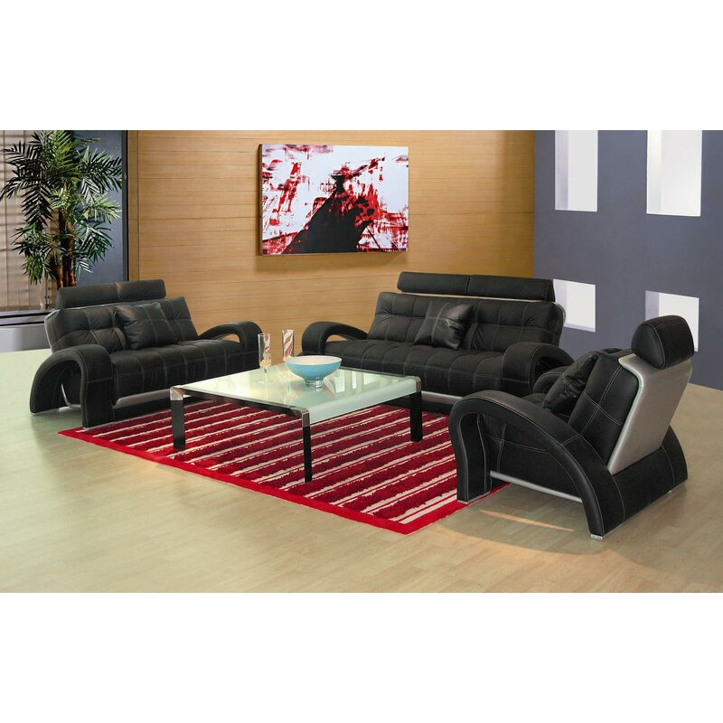 Hokku Designs Arthur Leather 3 Piece Living Room Set Reviews