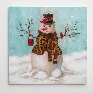 'Snowman II' Graphic Art on Wrapped Canvas