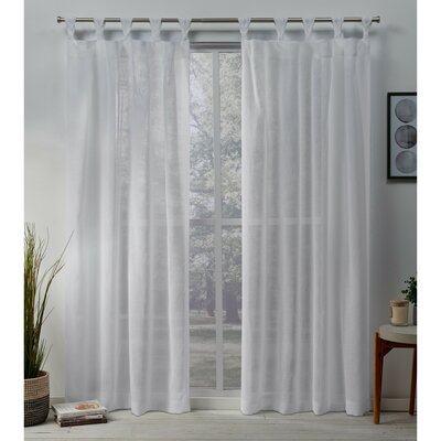 Highland Dunes Mirfield Braided Solid Color Sheer Tab Top Curtain Panels Curtain Color: White, Size: 84 x 50