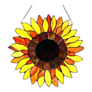 Tiffany Glass Sunflower Window Panel