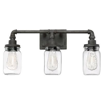 3 light vanity vallymede brys rustic black 3light vanity light portland reviews allmodern