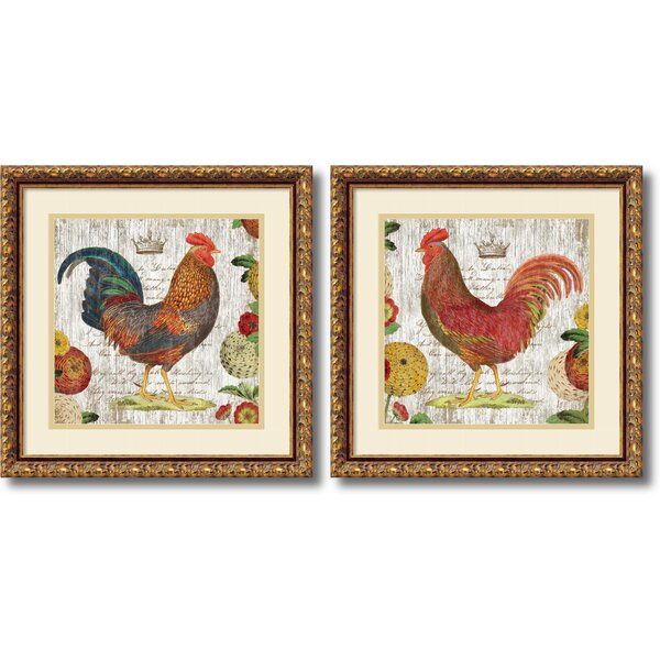 Amanti Art Rooster Gold Frame By Suzanne Nicoll 2 Piece Framed