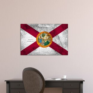 Florida Flag Grudge Vintage Map Graphic Art On Canvas