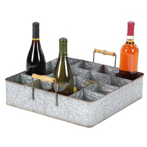 Amee Farmhouse Wood and Metal 16-Bottle T..