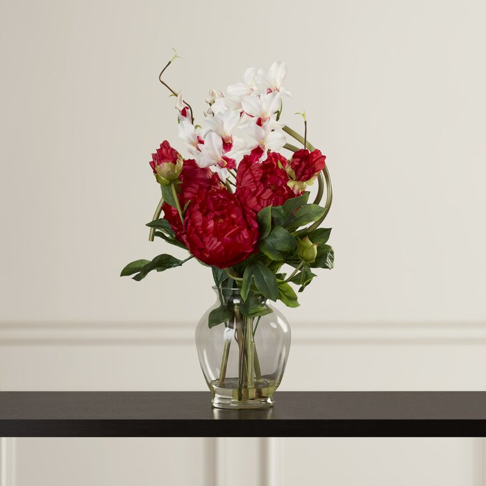 Peony and Orchid Silk Flower Arrangement in Vase & Alcott Hill Peony and Orchid Silk Flower Arrangement in Vase ...