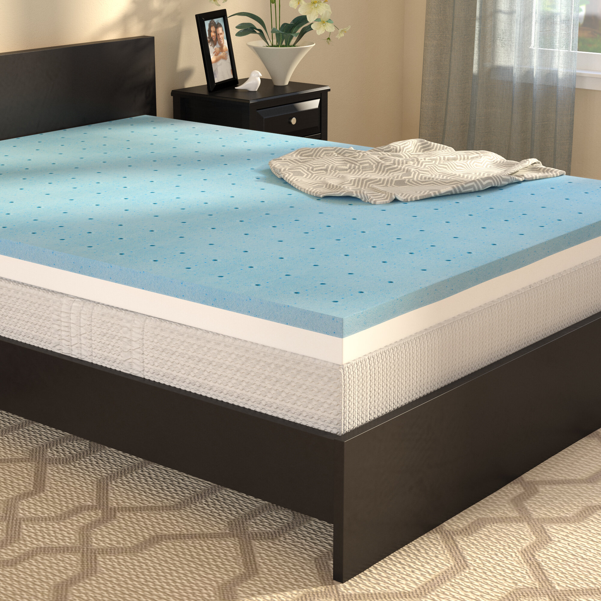 pcok co topper gel foam mattress memory sw queen