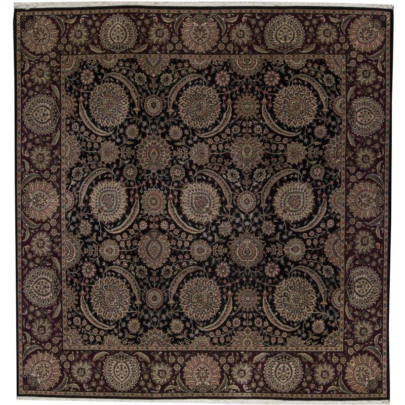 Bokara Rug Co., Inc. One-of-a-Kind Manchuria Hand-Knotted Square 10 Wool Beige/Black Area Rug