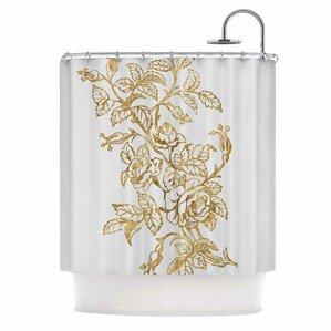 U0027Golden Vintage Roseu0027 Digital Shower Curtain. U0027