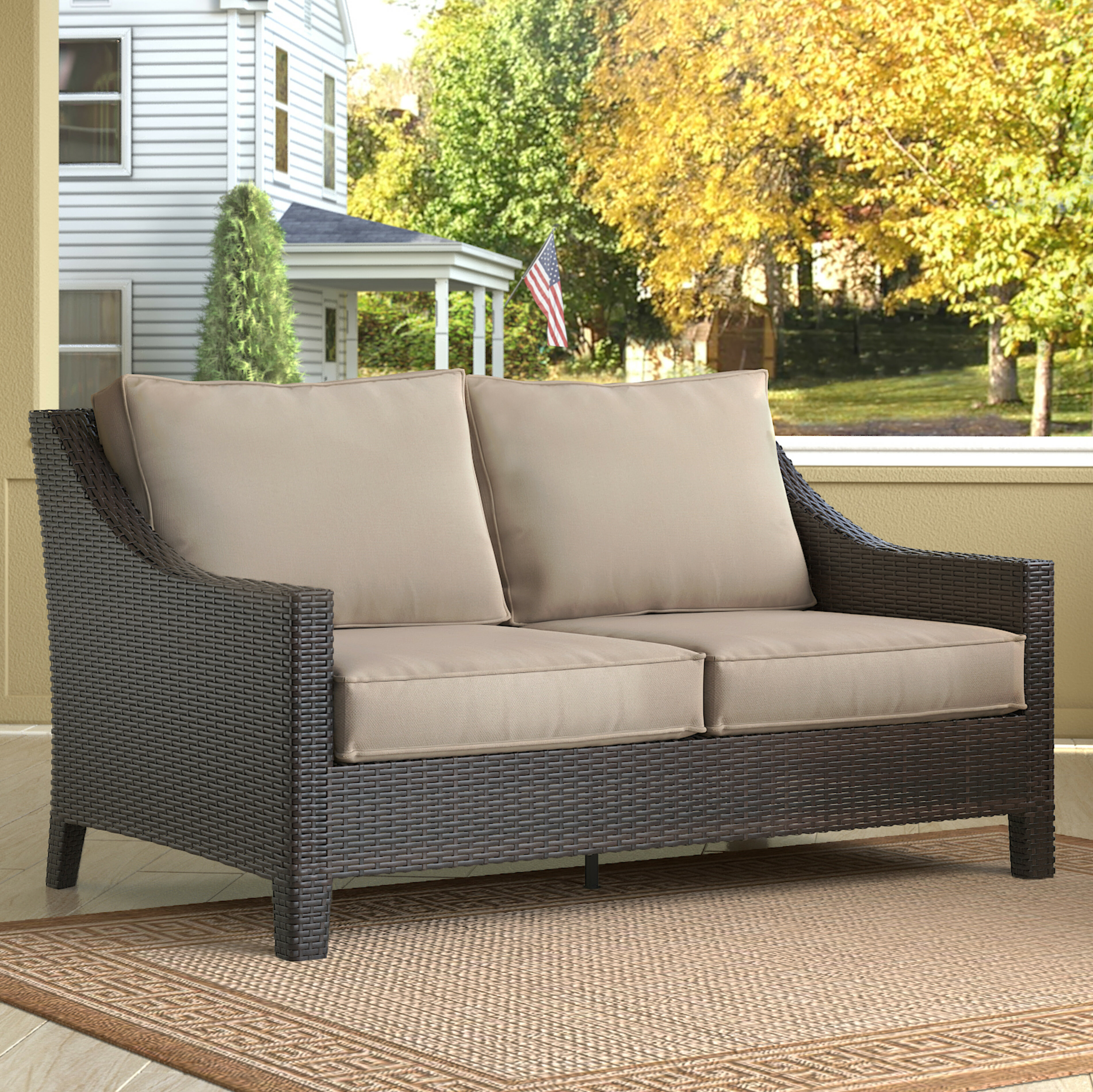 Tremendous Tahoe Outdoor Wicker Loveseat With Cushions Beutiful Home Inspiration Aditmahrainfo