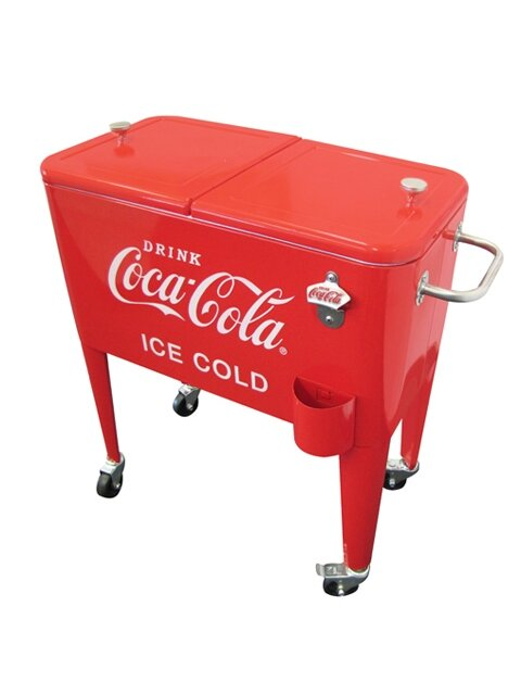 60 Qt Coca Cola Ice Cold Heavy Duty Rolling Cooler