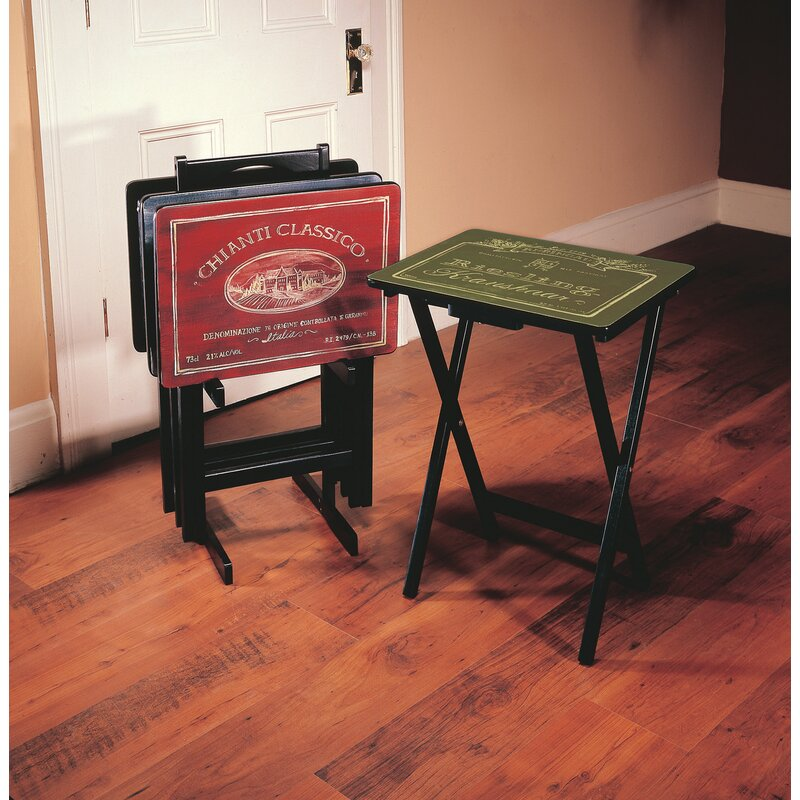 Alvina Wine Label Tv Tray Set With Stand Of 4