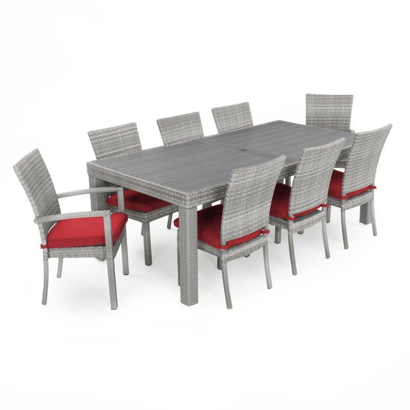Superbe Castelli 9 Piece Sunbrella Dining Set With Cushions
