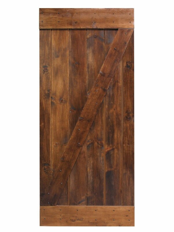 Calhome solid wood panelled pine interior barn door for Solid wood interior barn door