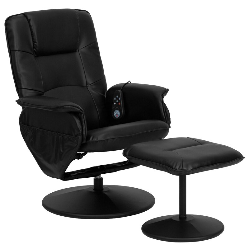 Leather Heated Mage Chair With Ottoman