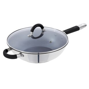 28cm Non-Stick Stainless Steel Wok with Lid by Tower