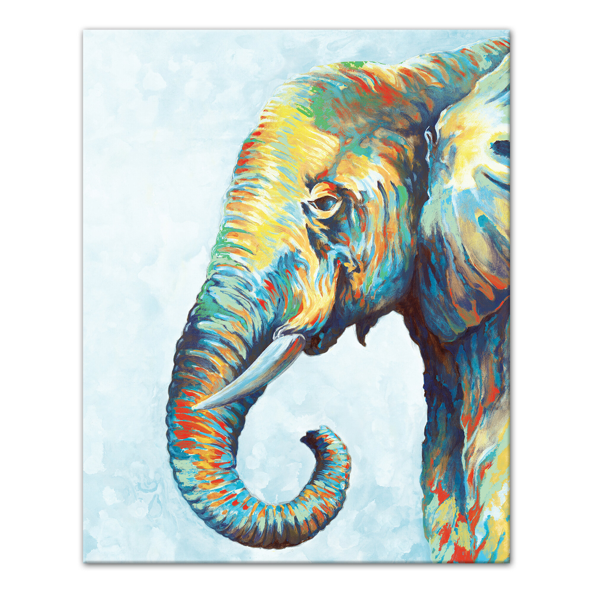 Cool Colorful Elephant Black Acrylic Painting Print