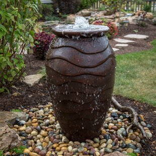 Scalloped Urn Fibergl And Resin Water Fountain For Outdoor