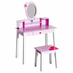 Haleigh Kids Wooden Dressing Table Set with Mirror by Zoomie Kids