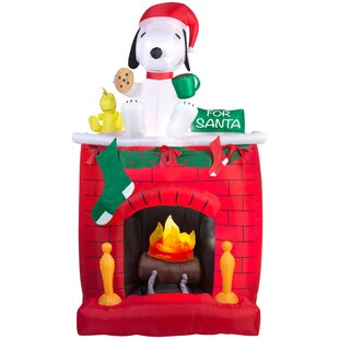 fire and ice snoopy on fireplace scene inflatable - Snoopy Christmas Stocking