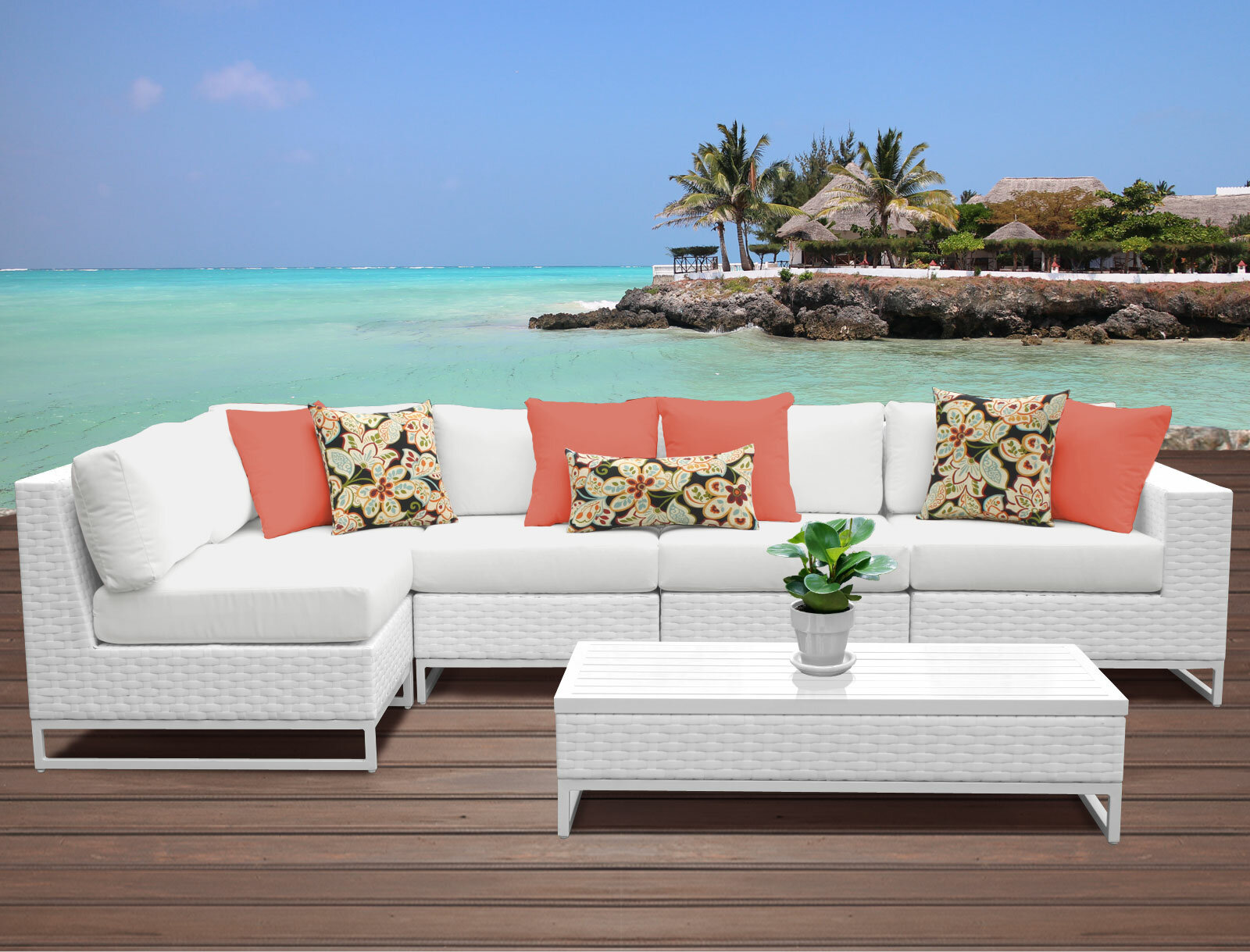 TK Classics Miami 6 Piece Sectional Set with Cushions & Reviews