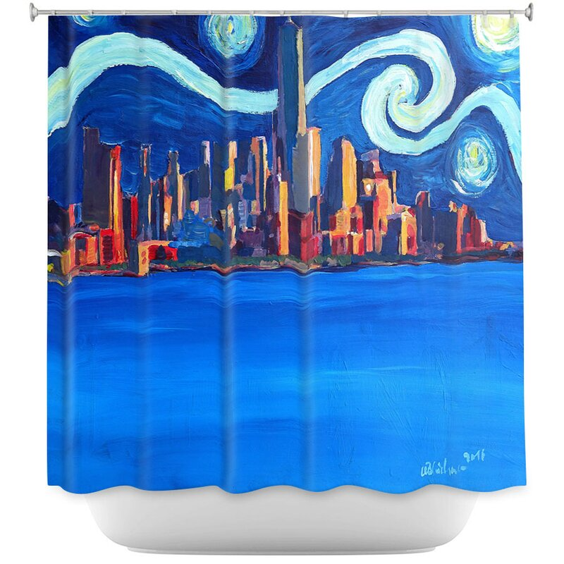 Starry Night In New York City Van Gogh Shower Curtain