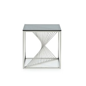 Kendra Glass and Stainless Steel End Table b..