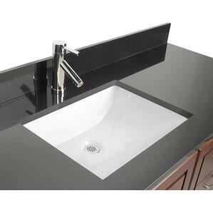 Attractive Ceramic Rectangular Undermount Bathroom Sink With Overflow