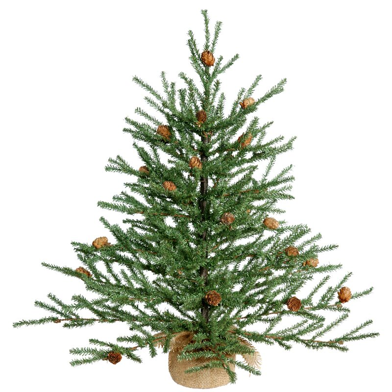 green pine tree artificial christmas tree with potted stand - Potted Artificial Christmas Trees