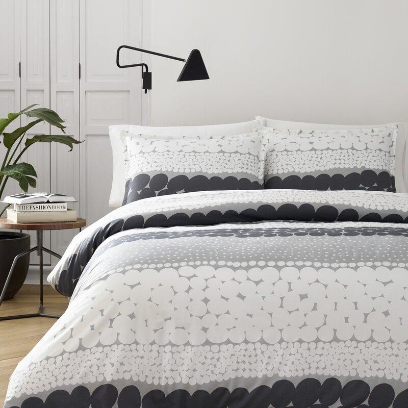 gray and white duvet cover set