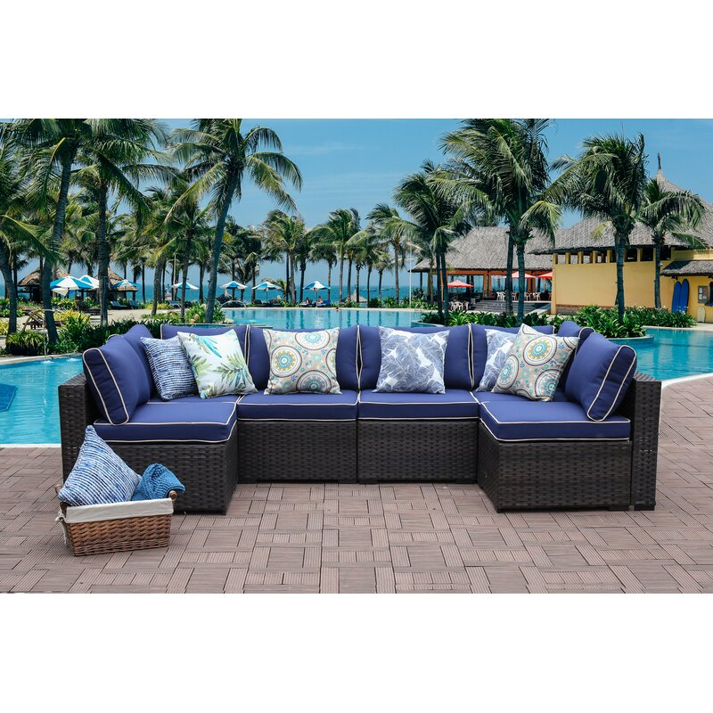 Tremendous Holliston 6 Piece Rattan Sectional Seating Group Set With Cushions Download Free Architecture Designs Scobabritishbridgeorg
