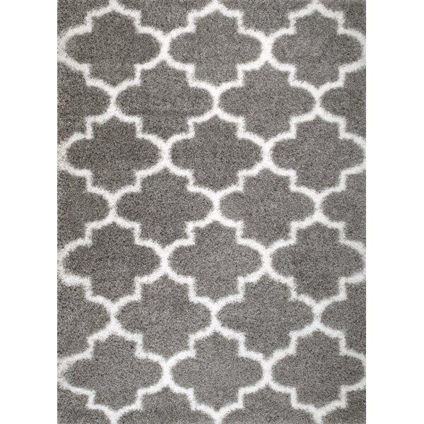 Rug And Decor Inc. Supreme Shag Royal Trellis Gray/White Area Rug U0026 Reviews  | Wayfair