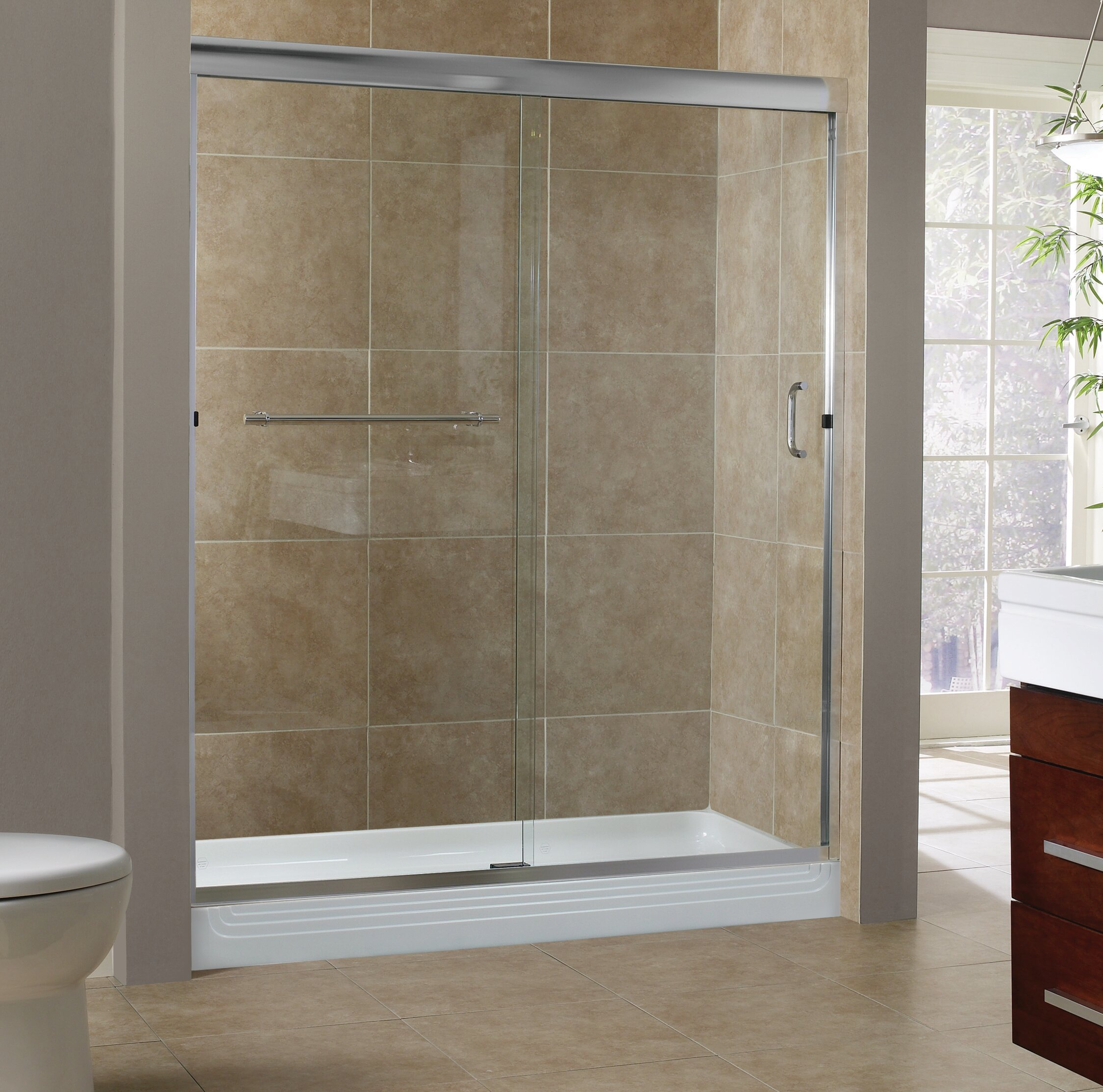Hazelwood Home Gosson 60 X 76 Single Sliding Frameless Shower Door
