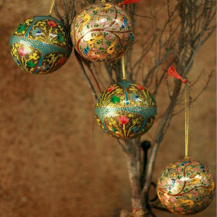 Christmas Ornament Sets.Garden Fantasy Fair Trade Christmas Papier Mache Ball Ornament Set Of 4