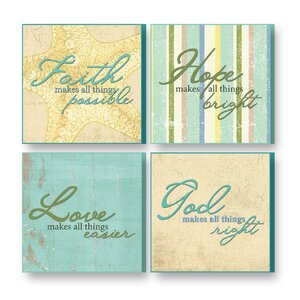 4 Piece Treasured Times Faith Makes Christian Wall Du00e9cor Set