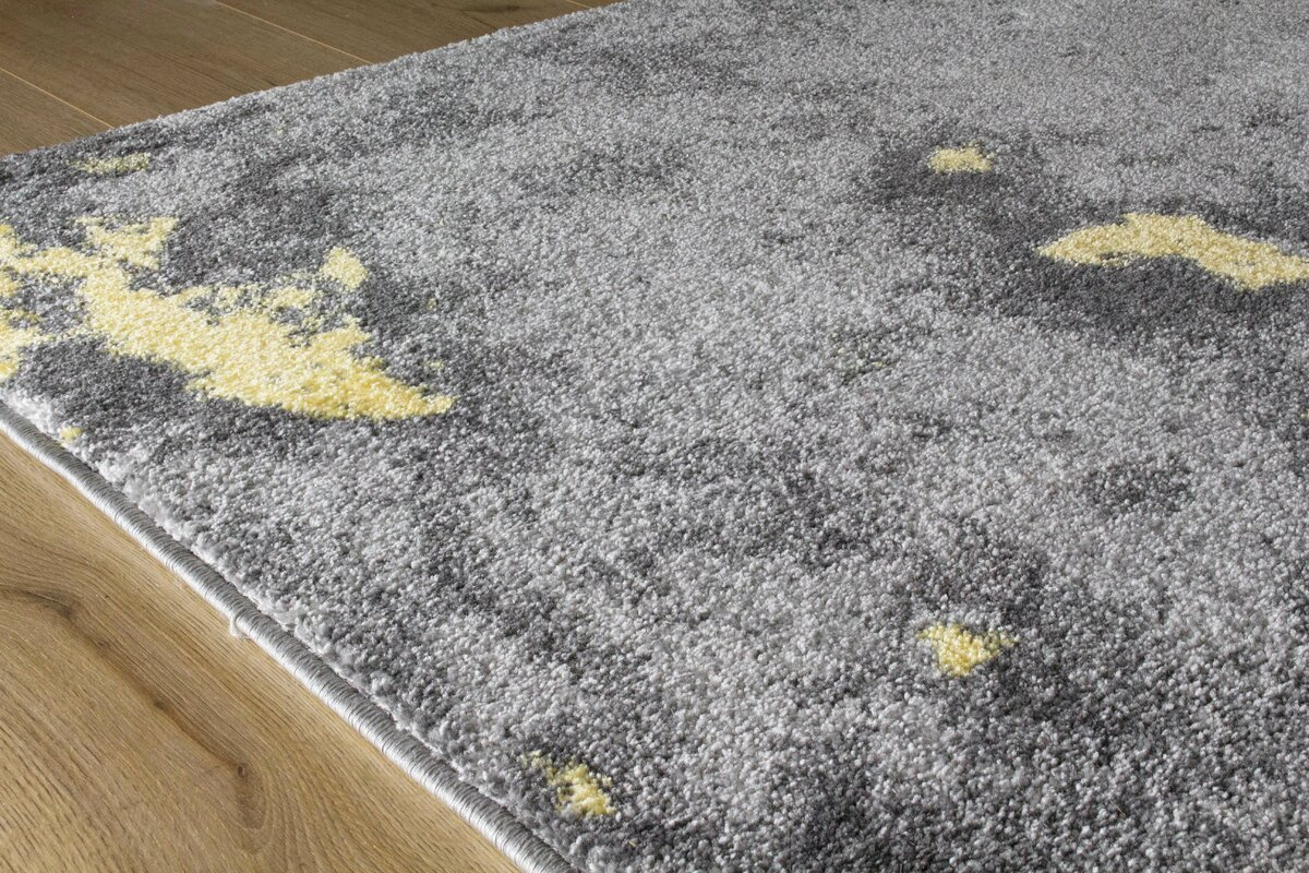 Atticus Abstract Expression Gray/Yellow Area Rug