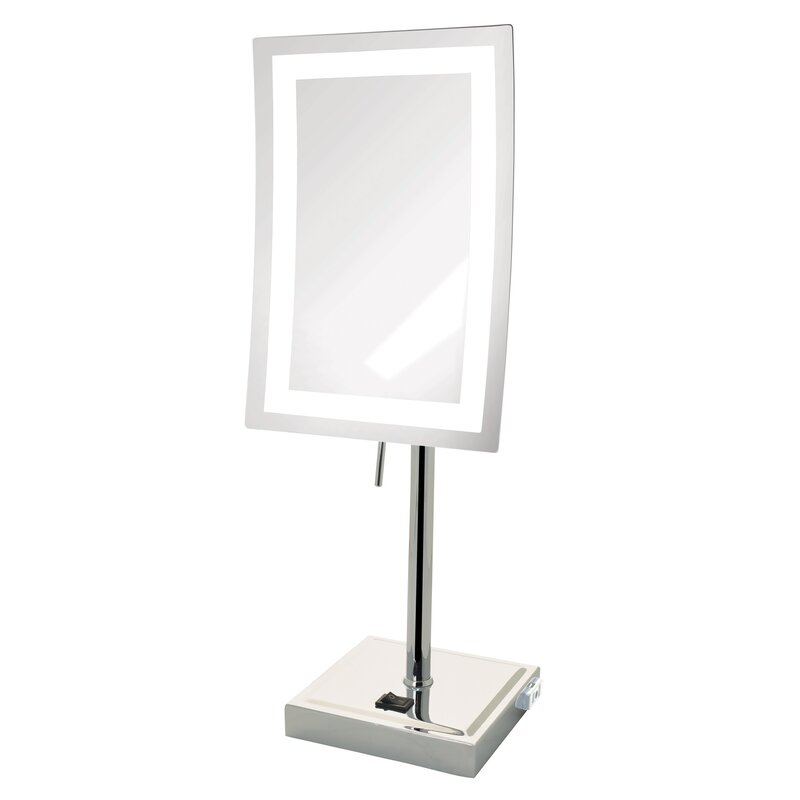 5X Magnified Lighted Tabletop Rectangular Mirror - Brayden Studio 5X Magnified Lighted Tabletop Rectangular Mirror