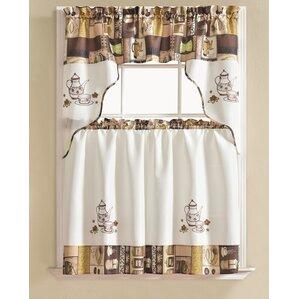 Charming Werner Coffee 3 Piece Kitchen Curtain Set