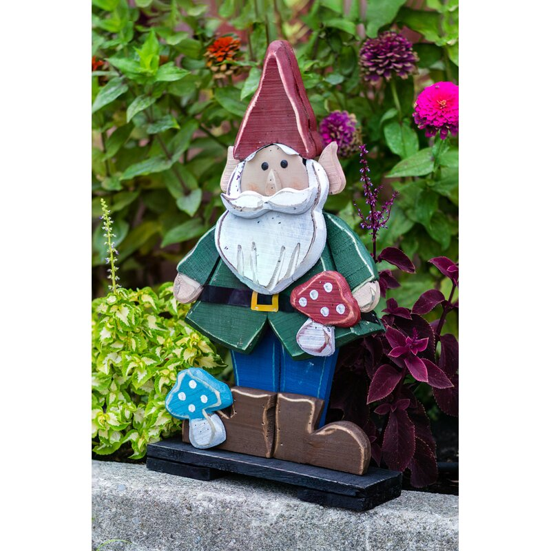 Wooden Gnome In Jacket Oversized Figurine