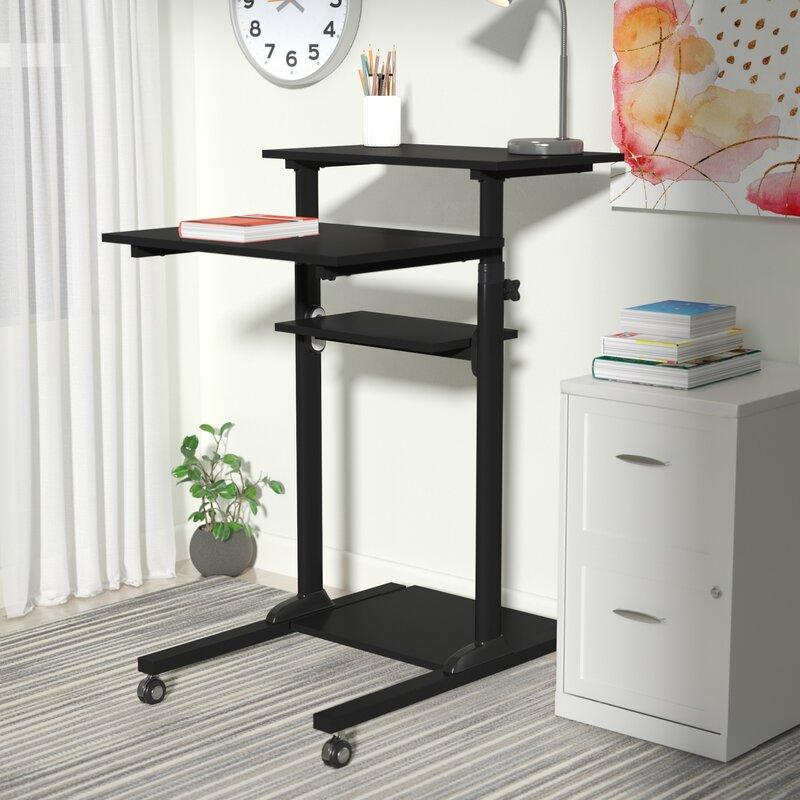 Degregorio Mobile Height Adjustable Computer Work Station Standing Desk