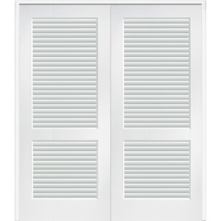 Full Double Solid Manufactured Wood Louvered MDF Prehung Interior Door