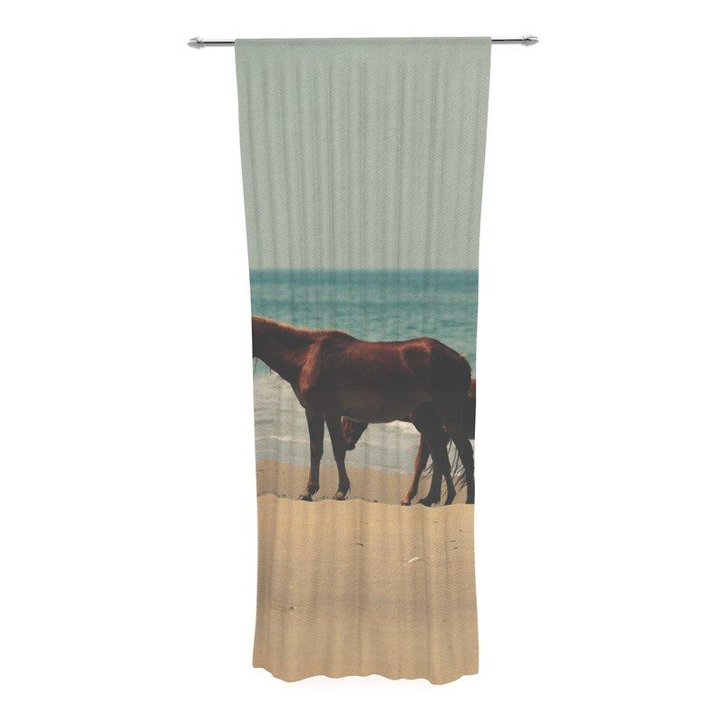 Robin Inson Sandy Toes Beach Horses Decorative Graphic Print Text Sheer Rod Pocket Curtain Panels