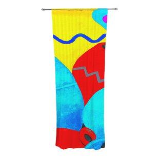 Terracotta Abstract Semi Sheer Rod Pocket Curtain Panels Set Of 2