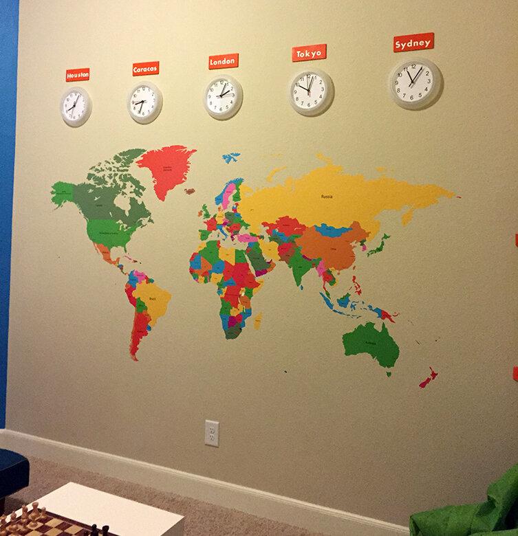 Pop Decors Educational World Map for Kids Room Wall Decal   Wayfair