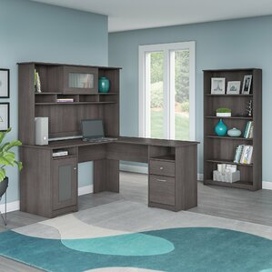Hilale L Shape Desk With Hutch And 5 Shelf Bookcase