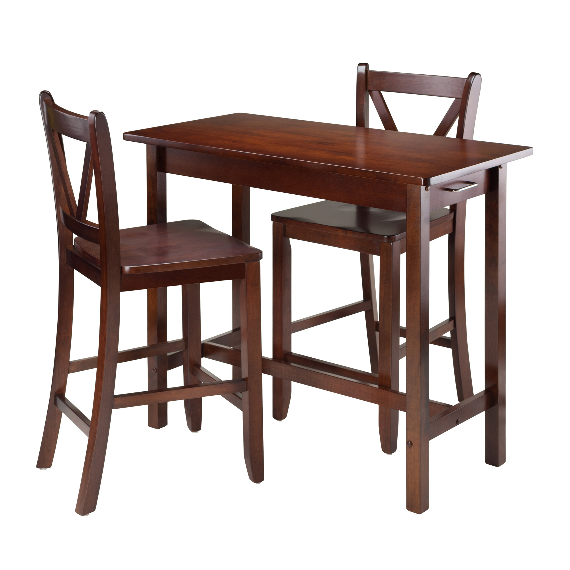 Kitchen Island 3 Piece Counter Height Dining Set