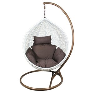 Pe Rattan And Metal Hanging Chair With Cushion
