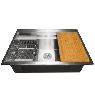 30 X 22 Drop In Kitchen Sink With Basket Strainer Tray And Cutting Board