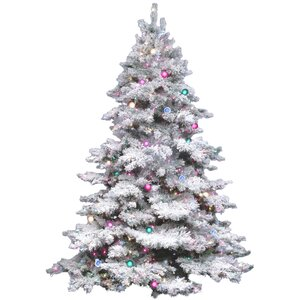Flocked Alaskan 4.5' White Artificial Christmas Tree with 300 Dura-Lit Multi-Colored Lights with Stand