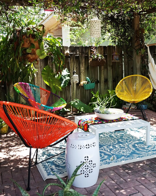 Swoon-Worthy Bright Bohemian Backyard | Wayfair on Bohemian Patio Ideas id=92179