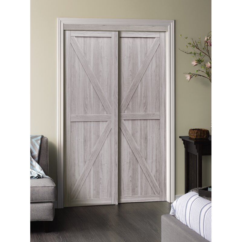 Bon Erias Home Designs Paneled Manufactured Wood Trident Sliding Closet Door |  Wayfair